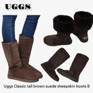 Uggs Classic tall brown suede sheepskin boot 8 ugg boots